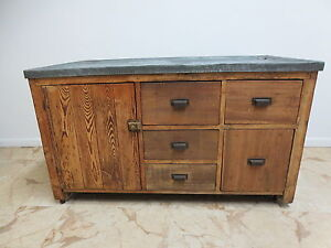Antique Primitive Zinc Top Dry Sink Cabinet Cupboard Sideboard