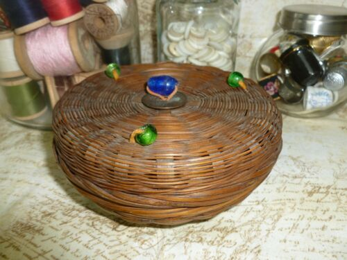 Sweet Antique Sewing Miniature Basket 1920s/1930s Chinese bamboo reed-wicker