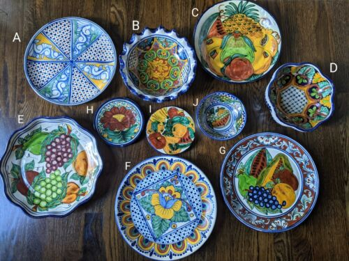 Lot of Hand Painted Pottery Talavera Wall Plate / Bowl W/ Floral Fruits Mexico
