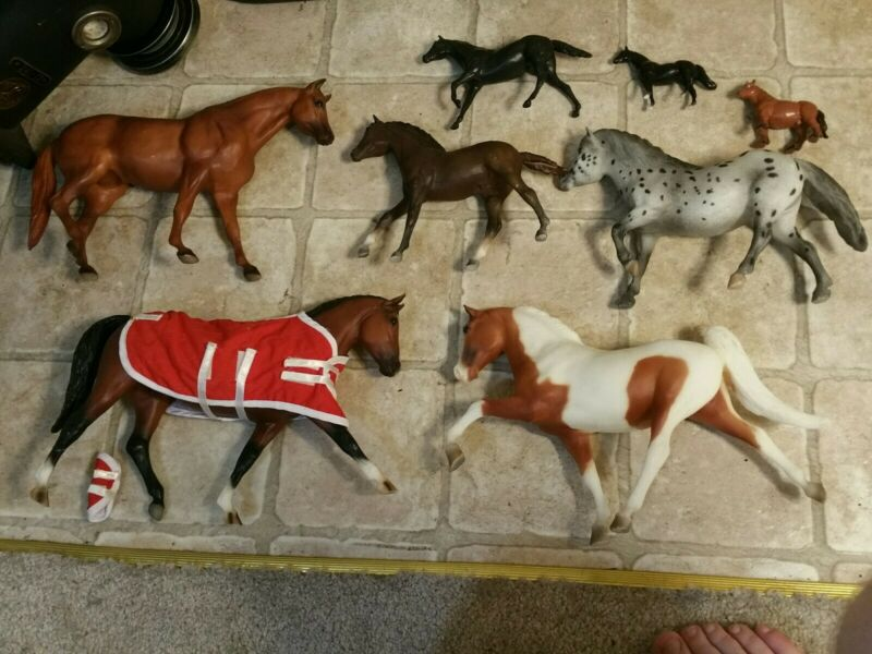 "Lot 8 toy Horses 7x Breyer bmc molding 12"" 10"" 1975 1x bullyland germany draft"