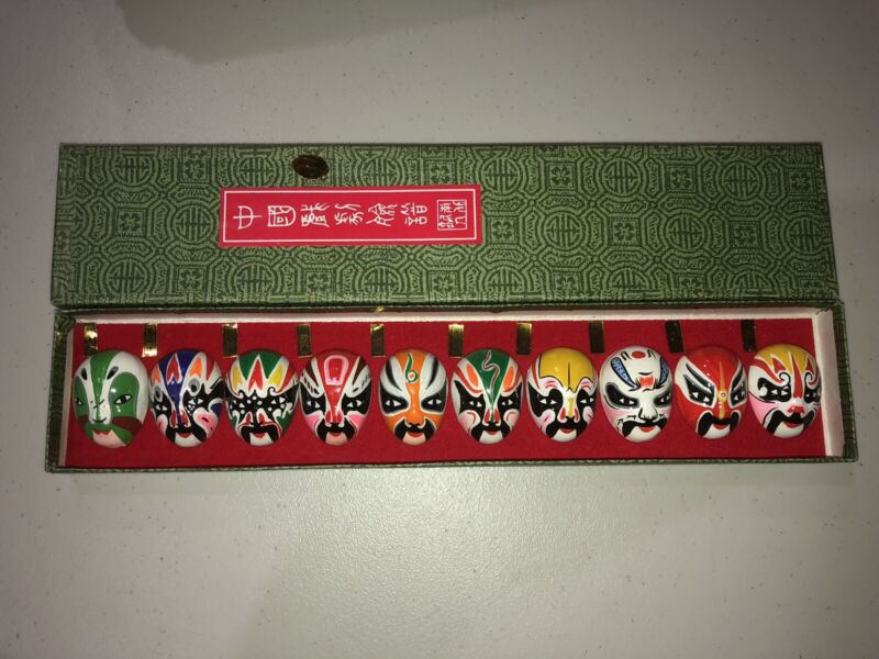 Vintage Chinese Miniature 10 Hand Painted Opera Masks Mask In Box Asian Art Face