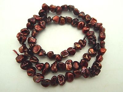 "Freshwater Keishi Pearls Petal Red Maroon 7-8mm 15.5"" Std Baroque Beads Bargain"