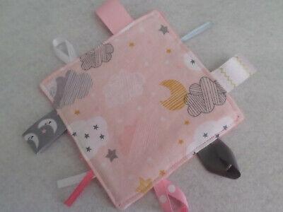 Moon & Clouds - Handmade Crinkle Tag Rag Baby Toy, Sensory Crinkly Toy