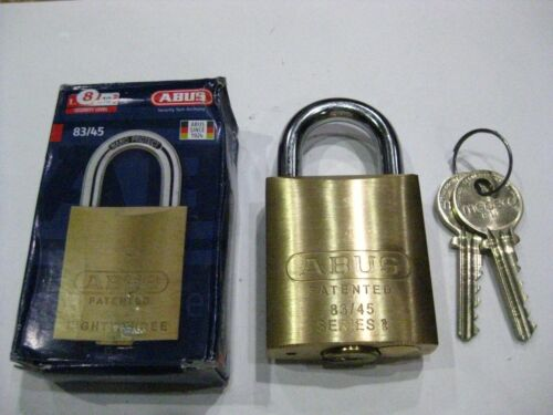Abus 83/45 S2 Padlock w/ Medeco Cylinder Keyed Alike-2 Keys Each. High Security.