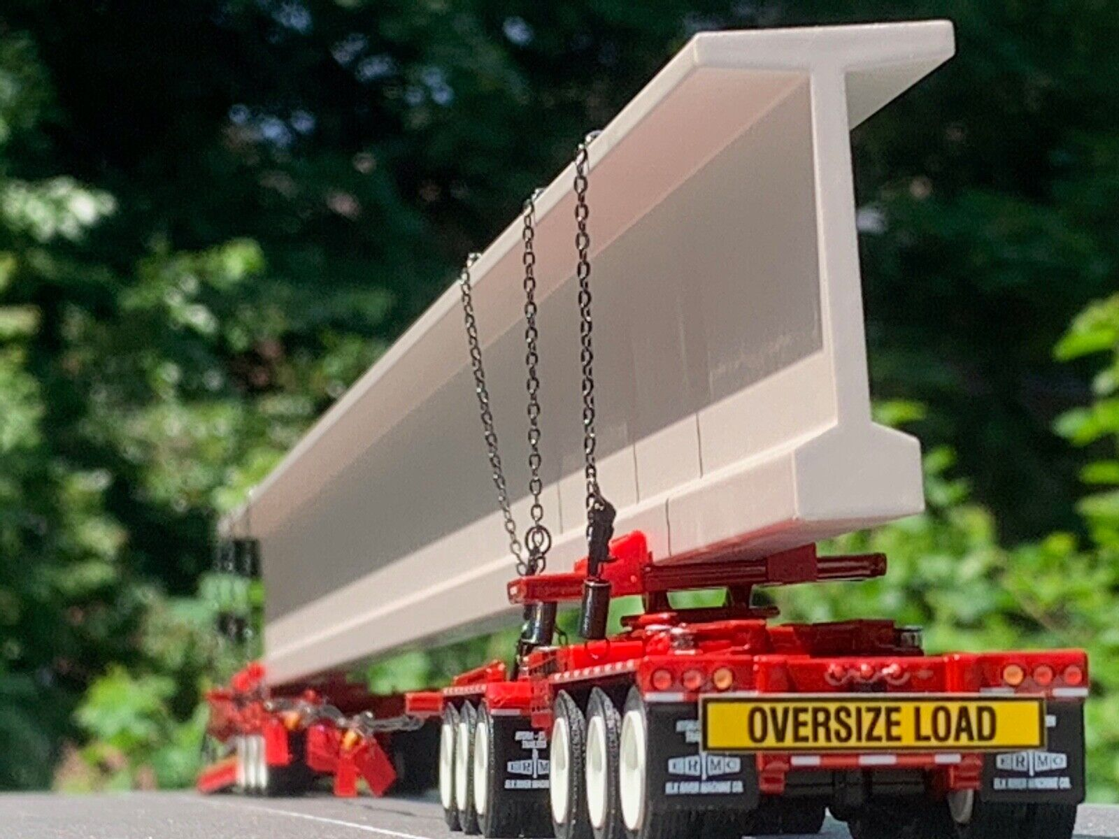 1/64 DCP RED FONTAINE LOWBOY, BUNK & ELK RIVER AXLE HYDRA STEER TRAILER & BEAM 1