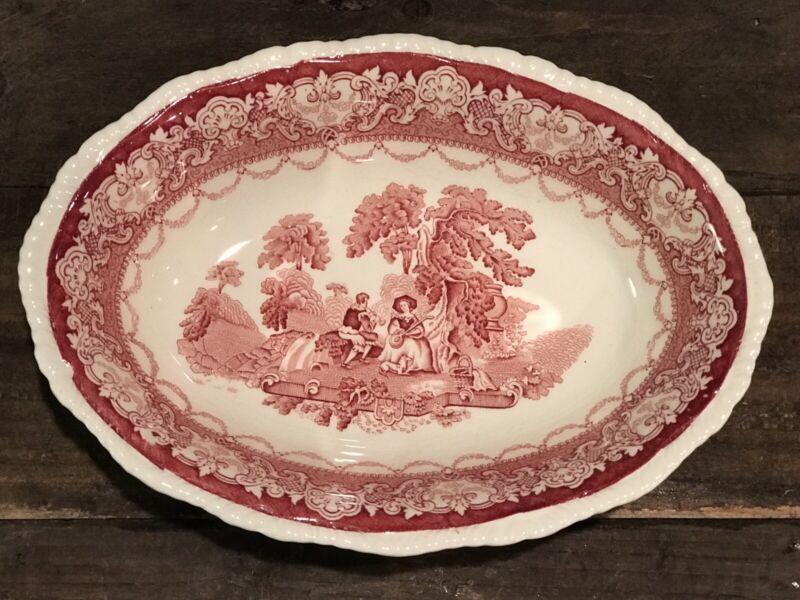 "Vintage ""Watteau"" Woods Burslem England Oval Serving Bowl Dish Red Transferware"