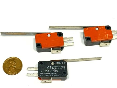 """3 Micro Limit Switch 2"""" 50.8mm Lever V-153-1C25 15A spdt long straight WD b23"""