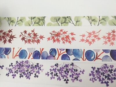 Natural Washi tape Leaves Grass Purple Maple Red Green Wide Tape