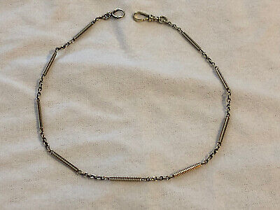 """Vtg 14K Solid Yellow Gold Pocket Watch Chain Fancy Bar Link 13.5"""" 9.8 Grams"""