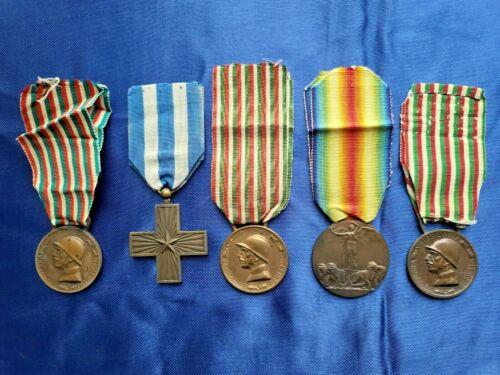 Lot of 5 WW1 Italy Medals Original Bronze Italian Merit Cross Merito Di Gverra