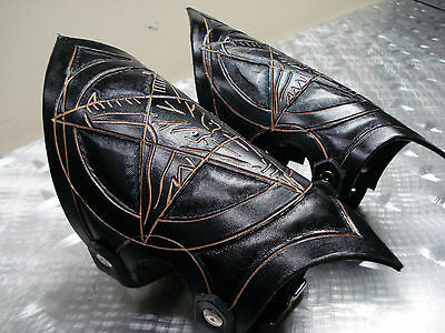 Hand Tooled Black Leather - LEATHER BAPHOMET HAND TOOLED GAUNTLETS.BLACK METAL...(MDLG0149) .....BEHEMOTH'S
