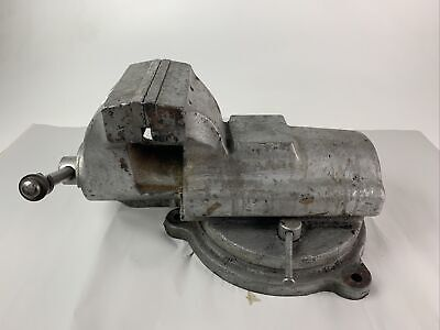 Vtg Bison Fpiu Swivel Bench Machinist Vise - 6 Jaws 7 Opening - 98 Pounds