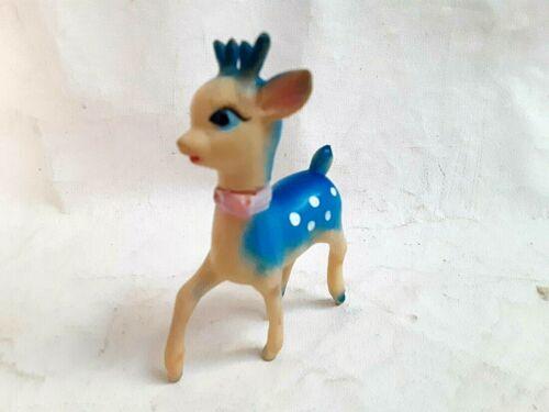 Rare Vintage Blue Christmas Reindeer Japan Soft Rubber Movable Head Squeak toy