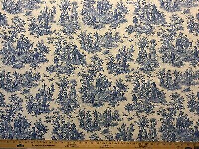 WAVERLY CHARMED LIFE CORNFLOWER 100% cotton toile blue country landscape fabric Waverly Fabrics Bedding