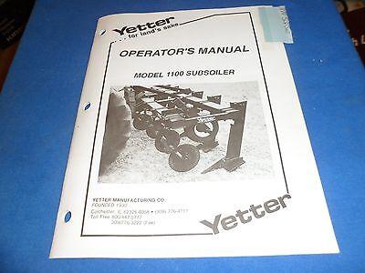 Drawer 21 Yetter Model 1100 Subsoiler Operators Manual