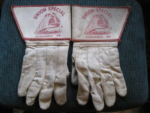 Vintage RARE Pair UNION SPECIAL Train Engineer RAILROAD Rubberized 99 GLOVES