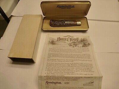 Vintage Remington 1982 Model R1123 Two-Blade Bullet Knife, w/ Paperwork & Case