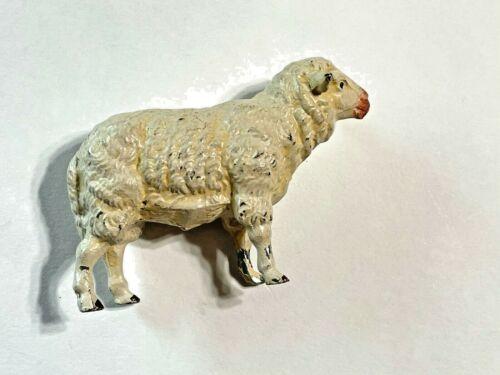 "Antique German Cast Iron Sheep Putz Nativity Christmas Figurine 3 3/4"""