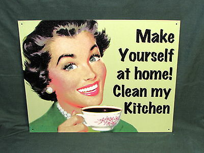 Make YourSelf At Home, Clean My Kitchen Vintage Style Replica 12x15 Metal Sign