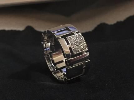 Men's Canturi Cubism 9-Diamond & 18 Carat White Gold Ring size 13