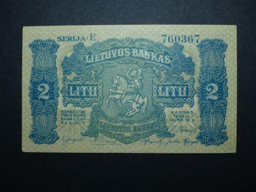 Lithuania 2 litu P.14 1922 aUNC+ SUPER RARE