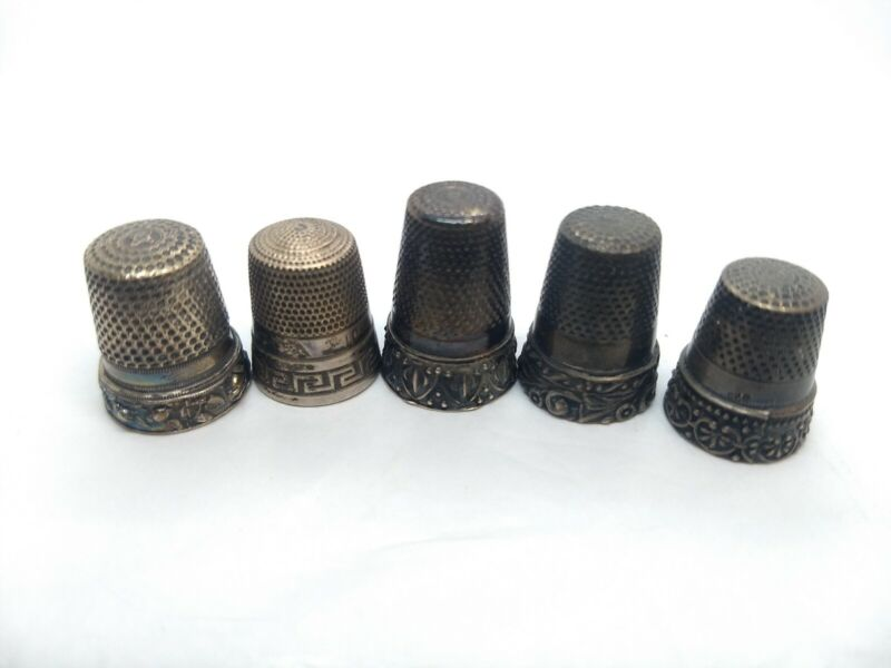 Vintage Thimble Lot: Sterling Silver - Lot of 5 Sewing Notion Lot, Needle