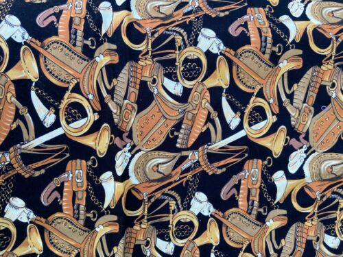 2+ yards English Equestrian Riding Equipment Fabric Material Browns on Black