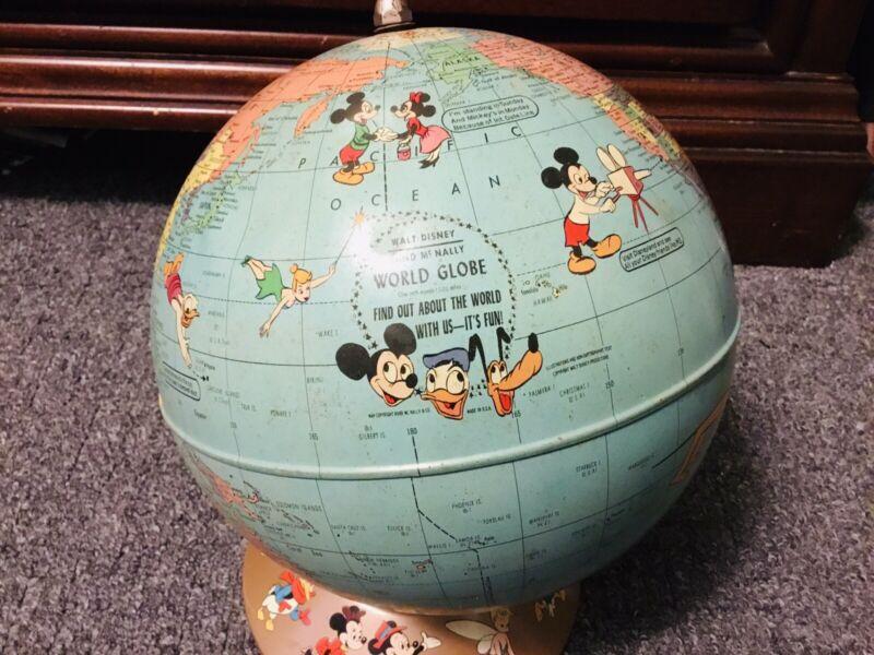 Vtg 1950 Rand McNally Walt Disney World Globe w/Disney Characters *RARE*HAS WEAR