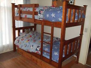Wooden bunk beds with under bed drawers and spring mattresses Blackburn Whitehorse Area Preview
