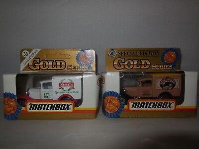 2 1993 matchbox gold series  trucks 1 beechworth bakery model a ford/ 1 hansells