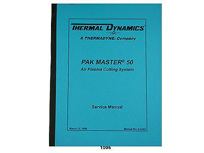 Thermal Dynamics Pakmaster 50 Plus Plasma Cutter Service Manual 1006