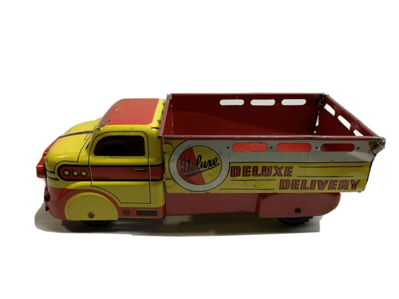 Vintage 1950s Marx Deluxe Delivery Truck Litho Tin Toy -- Very Good Condition