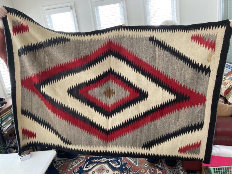 Antique NAVAJO HAND WOVEN 4 x 6 foot  EYE DAZZLER WOOL RUG c1910
