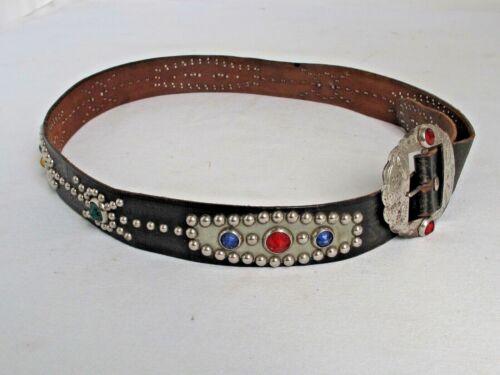 Vintage Western Belt Studded Leather and Jeweled size 36