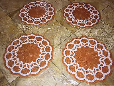 NWT KIM SEYBERT Orange Summer BEADED Scalloped Round PLACEMATS Chargers Set of 4