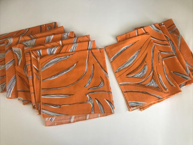 VERA NEUMANN Linen Orange Black Dinner Napkins(6) Luncheon Napkins(4)