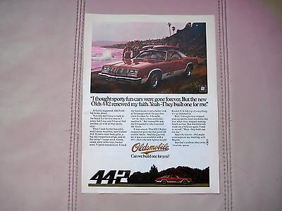 1976 OLDSMOBILE 442 COUPE - ORIGINAL PRINT CAR AD - EXCELLENT CONDITION
