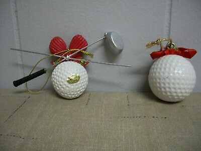 Golf Ball Ornaments (Lot of 2 Golf Ball XMas Ornaments Seasons Golfing & Ball with Crossed)