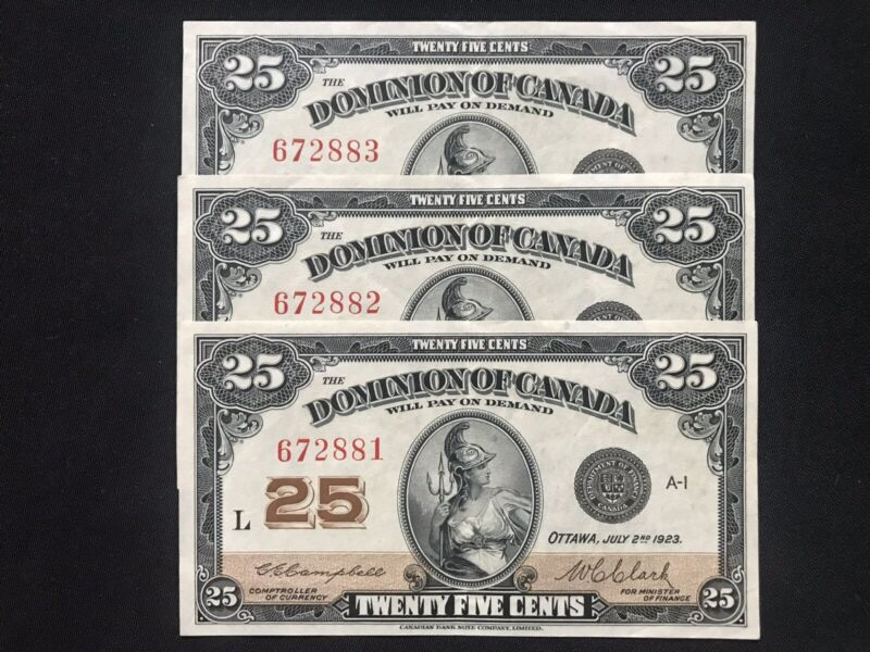 OOAK 3 Consecutive 1923 Dominion Of Canada 25 Cents Notes: Extremely Rare