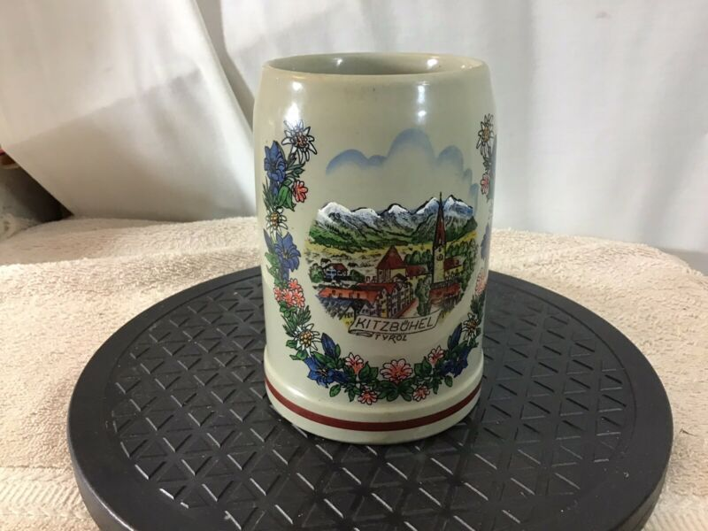 Vtg Hand Painted KITZBUHEL TYROL Original King Austria Stoneware Stein/Mug