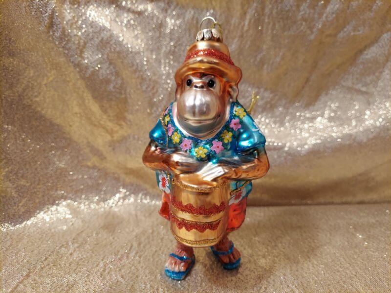 "Glass Monkey Christmas Tree Ornament Beach Bum Drum Bongos 4.5"""