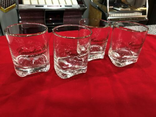 "4 Canadian Club Whiskey ""Be A Part Of It"" Gold Rim Wave Bottom Glasses"