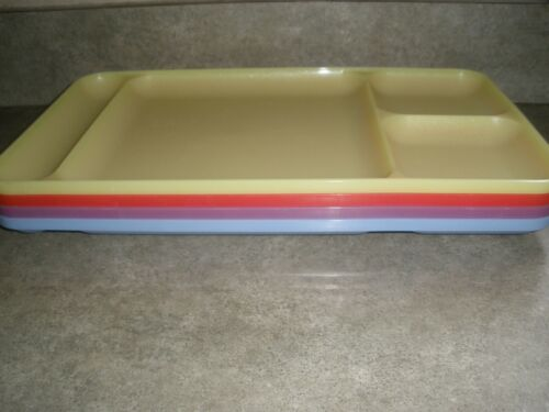 Vintage Set of 4 Pastel Tupperware Divided Trays Blue, Purple, Yellow, Red