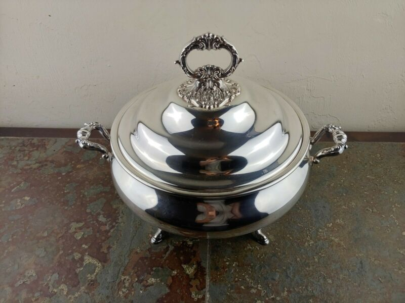 Pristine Four Footed Baroque by Wallace 239 Silver Tureen w/ Lid