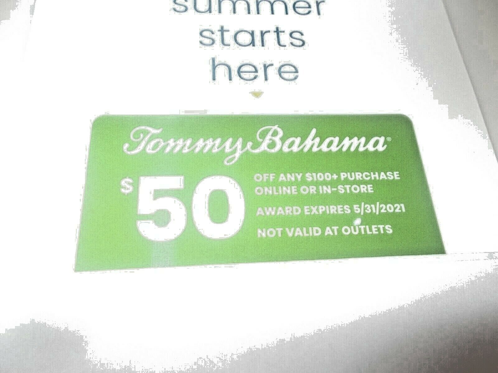Tommy Bahama 50 Off 100 Gift Card Valid In Stores Online Exp 5/31/21 - $12.99
