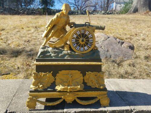 French Patinated Gilt Bronze Napoleon Clock Ormolu battle war cannon Empire