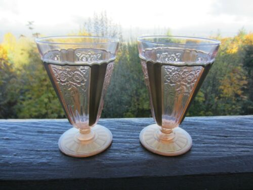 Two Pink Mayfair Open Rose Footed Water Goblets. 9oz. with Gold Decoration