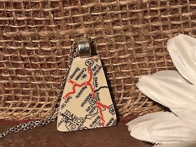 Recycled Porcelain Jewelry, Contemporary Collection, Road Map Pendant