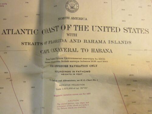 Atlantic Coast Waterways  US Navy Hydrographic Office 1955 Canaveral to Habana