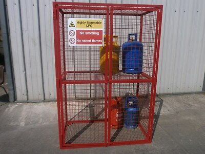 Gas bottle storage cage with removable shelf. Bespoke cages made to order.